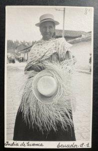 Mint Ecuador Real Picture Postcard RPPC Cuenca Indian Native