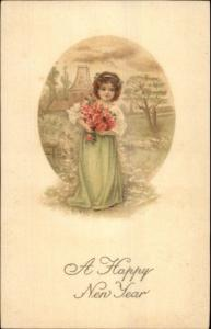 New Year - Little Girl Armful of Roses c1910 Postcard