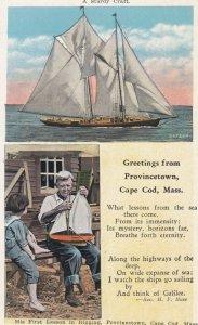 CAPE COD , Mass. , 1910s ; Sailboat & Poem A STURDY CRAFT