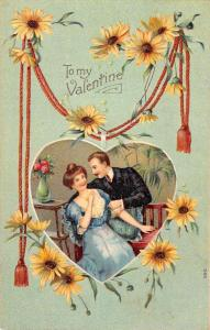 Valentine Romance Couple Sunflowers Antique Postcard K78610