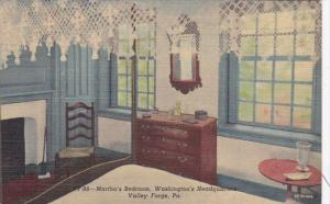 Pennsylvania Valley Forge Martha's Bedroom Washington's Headquarters 1954 Cur...
