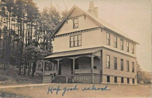 SUBSTANTIAL 4 STORY BUILDING-NOTED AS HOP GOOD SCHOOL 1910s REAL PHOTO POSTCARD