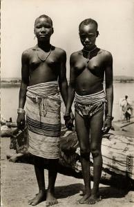 French West Africa, Beautiful Nude Fula Fulani Women (1950s) RPPC Postcard