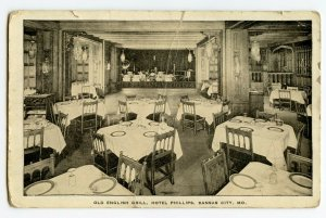 Postcard Old English Grill Hotel Phillips Kansas City MO Standard View Card