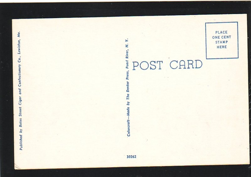P1580 old unused postcard main st. view old cars buildings lewiston maine