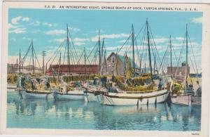 An Interesting Sight, Sponge Boats at Dock, TARPON SPRINGS, Florida,30-40s
