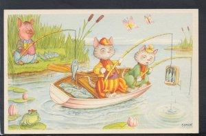 Childrens Postcard - Cute Animals Fishing - Artist Simon  HP226
