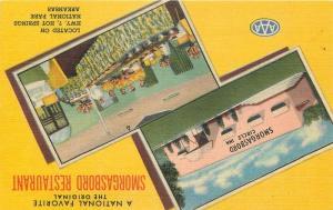 HOT SPRINGS ARKANSAS 1940s Smorgasbord Restaurant Teich linen postcard 4531