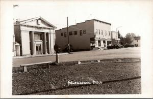 Stephenson Michigan~IGA Super Market Grocery Store~Bank Building~1940s Cars~RPPC