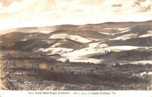 State College Pennsylvania Bald Eagle Lookout Real Photo Antique Postcard K34842
