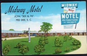 South Carolina PEE DEE Midway Motel Highway US No. 76 & 301 - pm1986 1950s-1970s