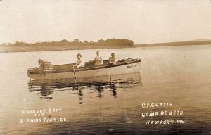 Newport ME Camp Benson Wayside Boat Fishing Parties RPPC Postcard