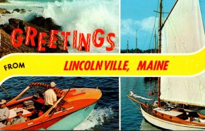 Maine North Lincolnville Greetings With Boat Scenes 1969