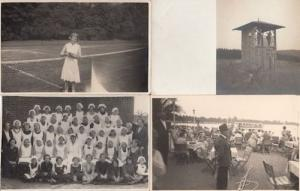 Tennis Boat Party School Canteen Dinner Ladies War Hut 4x Real Photo Postcard s