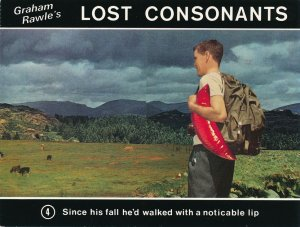 Graham Rawle's Lost Consonants - Humor - Pun - Walking with a noticeable Lip