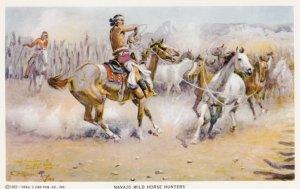 Artist C. Russell , Navajo wild horse hunters , 1950s