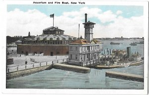 The Aquarium and Fire Boat Station Battery Sea Wall New York City New York