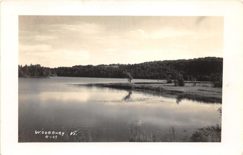 Woodbury Vermont~Looking Across River~Peaceful Scene~1950s RPPC
