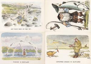 Fishing Catching Haggis In Scotland 4x Comic Humour Postcard s