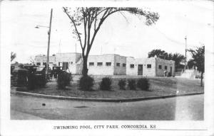 F10/ Concordia Kansas RPPC Postcard 1948 Swimming Pool City Park