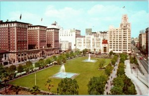 Pershing Square Los Angeles Biltmore Hotel Downtown Vintage Postcard