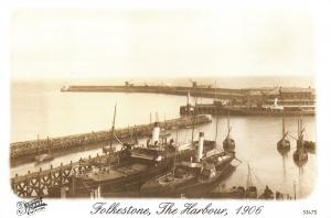 Kent Postcard 1906 Folkestone Harbour, Steam Boats, Francis Frith Repro Card W00