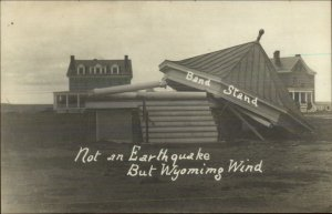 Band Stand Blown Wind Wyoming Weather +Photography CRISP RPPC c1910 xst