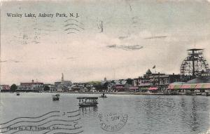 Wesley Lake, Asbury Park, New Jersey, Early Hand Colored Postcard, used in 1909