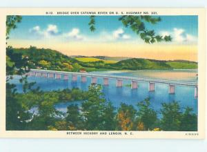 Unused Linen BRIDGE SCENE Hickory To Lenoir North Carolina NC H8047