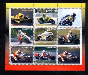 030058 Motorcycles set 9 stamps UDMURTIA MNH #30058
