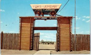 CLAYTON, NM   FORT JORDAN Entrance, COVERED WAGON   c1950s  Roadside   Postcard