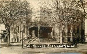 1920s Dawson County ME Church Gothenburg Nebraska RPPC Real photo 12326