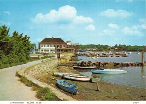 Vintage 1970s Hampshire Postcard, Lymington Yacht Club, boats, water 44V