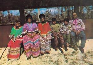 Indian Family at Miccosukee Village Tamiami Trail Florida Postcard