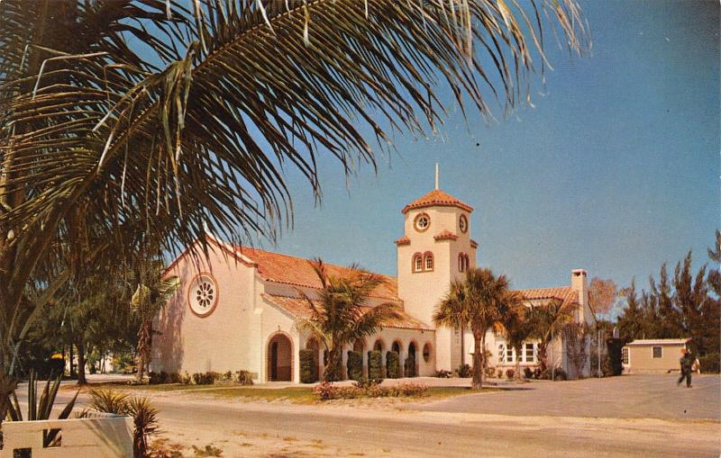 Madeira Beach Florida~Church-By-The-Sea~Chicken Face Tower~1960s Postcard