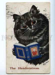 240912 Headmistress CAT Reading Book by Louis WAIN Vintage PC