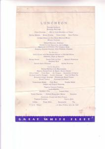 TSS Peten, Cruise Ship Luncheon Menu, Great White Fleet, At Sea, July 20, 1934,