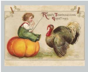Single Hand Designed Postcard Thanksgiving Greeting Child on Pumpkin w/ Turkey