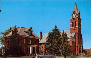 Gaylord Michigan~St Mary's Catholic Church~House Next Door~1960s Car~Postcard