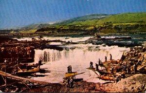 Washington Northwestern Indians Fishing At Celilo Falls On Columbia River