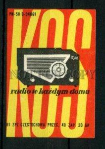 500798 POLAND KOS radio ADVERTISING Vintage match label
