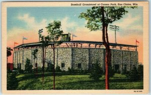 1940s Eau Claire, Wisconsin Postcard Baseball Grandstand at CARSON PARK Linen