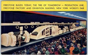 1939 New York World's Fair Postcard Firestone Tires Exhibit / Production Line