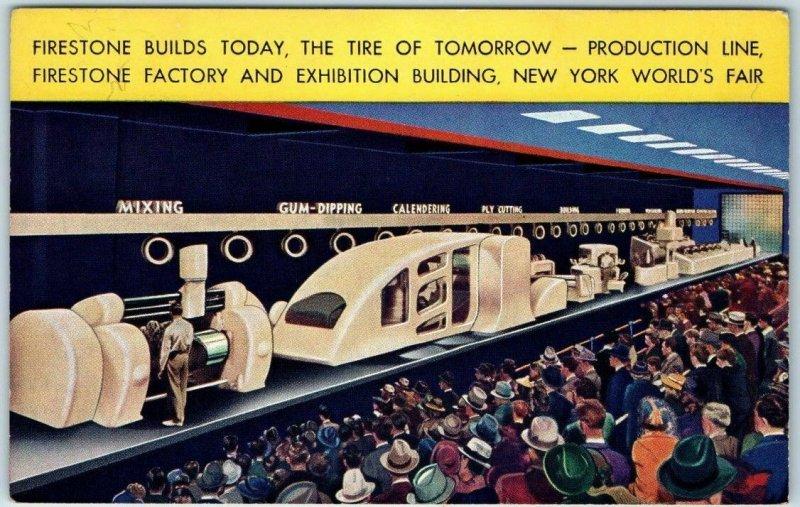 1939 New York World's Fair Postcard Firestone Tires Exhibit / Production Line
