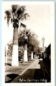 RPPC  PALM SPRINGS, California  CA   Street Scene  PLAZA THEATRE c1940s Postcard