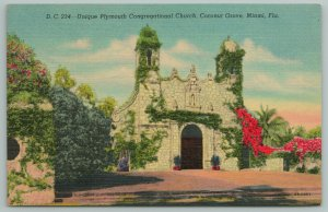 Miami FL~Plymouth Congregational Church~Mission Revival Architecture~Vintage PC