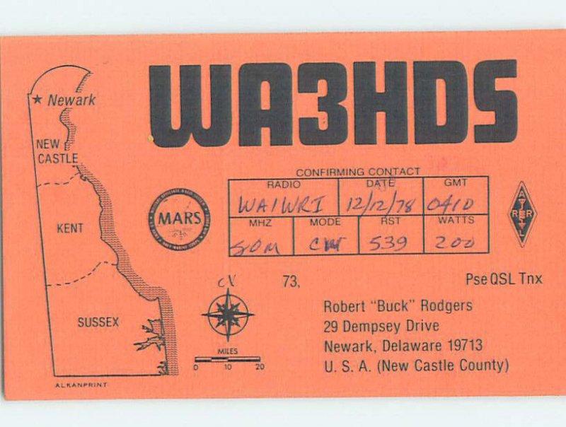 Pre-1980 RADIO CARD - CB HAM OR QSL Newark Delaware DE AH2565