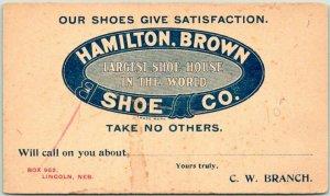 c1900s LINCOLN, Nebraska Advertising Postcard HAMILTON, BROWN SHOE COMPANY