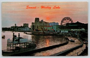 Wesley Lake New Jersey~Sunset Over Amusement Park~Airplane Ride~Funhouse~1970s
