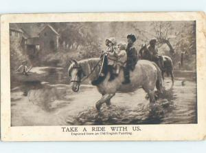 Pre-Linen THREE KIDS RIDING ONE HORSE IN THE RIVER HJ4803